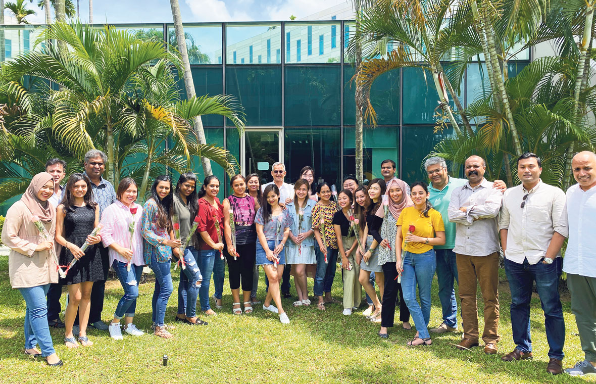 As a people-centric employer, Optimum Solutions often organises fun activities to bring employees together. On Valentine's Day this year, employees were encouraged to give roses to their colleagues as part of the festivities. PHOTO: OPTIMUM SOLUTIONS